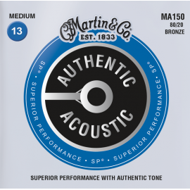 Martin Authentic Acoustic SP Medium Acoustic 13-56 80/20 Bronze Acoustic Guitar Strings MA150