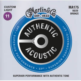 Martin Authentic Acoustic SP 11-52 Custom Light 80/20 Bronze Acoustic Guitar Strings MA175