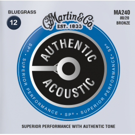 Martin Authentic Acoustic SP 12-56 Bluegrass 80/20 Bronze Acoustic Guitar Strings MA240