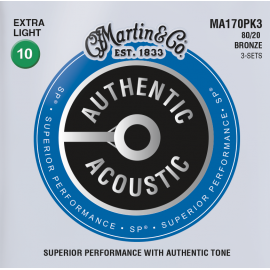 Martin 3 Set Pack Authentic Acoustic SP 10-47 Extra Light 80/20 Bronze Acoustic Guitar Strings MA170PK3
