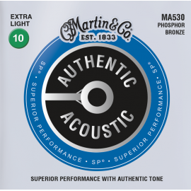 Martin Authentic Acoustic SP 10-47 Extra Light Phosphor Bronze Acoustic Guitar Strings MA530