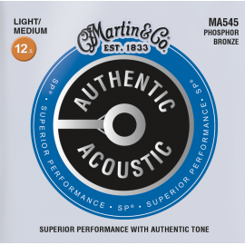 Martin Authentic Acoustic SP 125-55 Light Medium Phosphor Bronze Acoustic Guitar Strings MA545