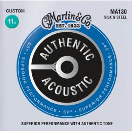 Martin Authentic Acoustic SP Silk & Steel Folk 11.5-47 Custom Gauge Acoustic Guitar Strings MA130