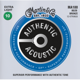 Martin 12 String Authentic Acoustic SP 10-47 Extra Light 80/20 Bronze Acoustic Guitar Strings MA180