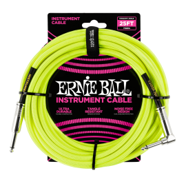 Ernie Ball Neon Yellow 25ft Braided Instrument Cable P06057