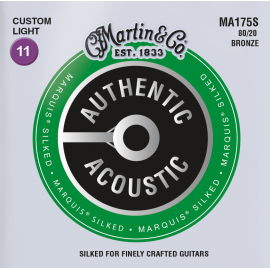 Martin Authentic Acoustic Marquis Silked 11-52 Custom Light 80/20 Bronze Acoustic Guitar Strings MA175S