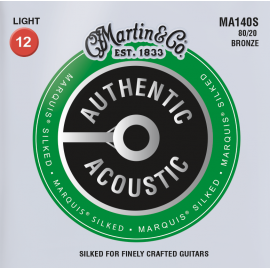 Martin Authentic Acoustic Marquis Silked 12-54 Light 80/20 Bronze Acoustic Guitar Strings MA140S