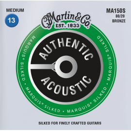 Martin Authentic Acoustic Marquis Silked 13-56 Medium 80/20 Bronze Acoustic Guitar Strings MA150S