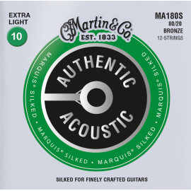 Martin 12 String Authentic Acoustic Marquis Silked 10-47 Extra Light 80/20 Bronze Acoustic Guitar Strings MA180S