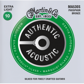 Martin Authentic Acoustic Marquis Silked 10-47 Extra Light Phosphor Bronze Acoustic Guitar Strings MA530S