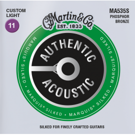 Martin Authentic Acoustic Marquis Silked 11-52 Custom Light Phosphor Bronze Acoustic Guitar Strings MA535S