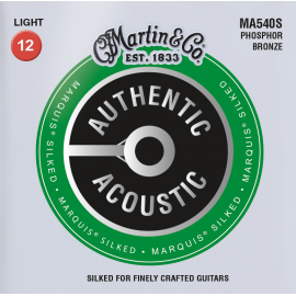Martin Authentic Acoustic Marquis Silked 12-54 Light Phosphor Bronze Acoustic Guitar Strings MA540S