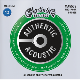 Martin Authentic Acoustic Marquis Silked 13-56 Medium Phosphor Bronze Acoustic Guitar Strings MA550S