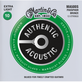 Martin 12 String Authentic Acoustic Marquis Silked 10-47 Extra Light Phosphor Bronze Acoustic Guitar Strings MA500S
