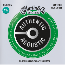 Martin Authentic Acoustic Marquis Silked Silk & Steel Folk 11.5-47 Custom Gauge Acoustic Guitar Strings MA130s