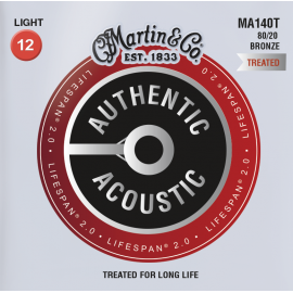 Martin Lifespan 2.0 12-54 Light 80/20 Bronze Acoustic Guitar Strings MA140T