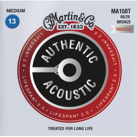 Martin Lifespan 2.0 13-56 Medium 80/20 Bronze Acoustic Guitar Strings MA150T