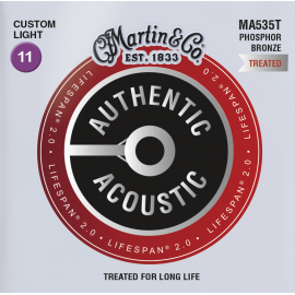 Martin Lifespan 2.0 11-52 Custom Light Phosphor Bronze Acoustic Guitar Strings MA535T