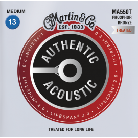 Martin Lifespan 2.0 13-56 Medium Phosphor Bronze Acoustic Guitar Strings MA550T