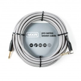 MXR Pro Woven Silver 24ft Instrument Cable Straight-Angled Jacks DCIW24R