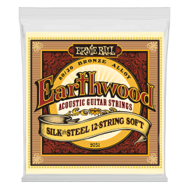 Ernie Ball 12 String Earthwood 09-46 Soft Silk & Steel Bronze Acoustic Guitar Strings 2051