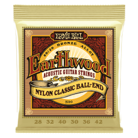 Ernie Ball Earthwood Nylon 28-42 Ball End Classical Guitar Strings 2069