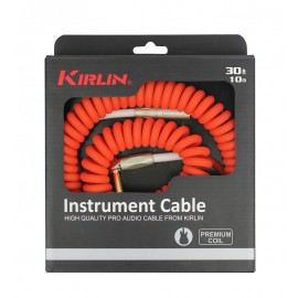 Kirlin 30ft Premium Coil Guitar / Instrument Lead str-ang Jacks - RED
