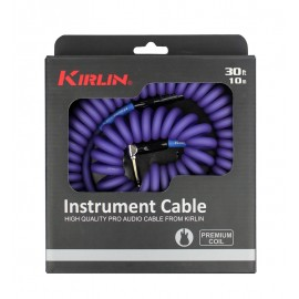 Kirlin 30ft Premium Coil Guitar / Instrument Lead str-ang Jacks - PURPLE