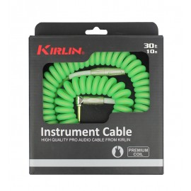 Kirlin 30ft Premium Coil Guitar / Instrument Lead str-ang Jacks - GREEN