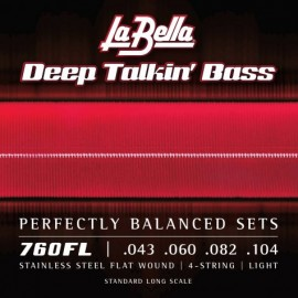 La Bella Deep Talkin' Bass 43-104 Flatwound S/Steel Bass Strings 760FL
