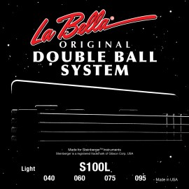 La Bella Double Ball System 40-95 Round Wound Light S/Steel Bass Strings S100L