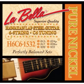 La Bella 6 String C-6 Tuning 15-32 Pure Nickel Hawaiian Lap Steel Strings H6C6-1532