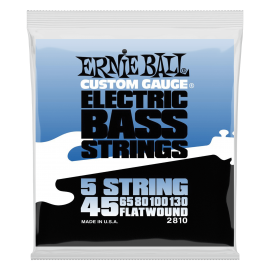 Ernie Ball 5 String Flatwound 45-130 Stainless Steel Bass Guitar Strings 2810
