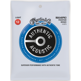 Martin 3 Set Pack Authentic Acoustic SP 12-54 Light Phosphor Bronze Acoustic Guitar Strings MA540PK3