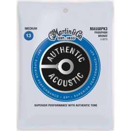 Martin 3 Set Pack Authentic Acoustic SP 13-56 Medium Phosphor Bronze Acoustic Guitar Strings MA550PK3