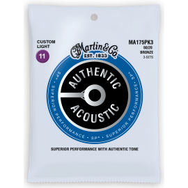 Martin 3 Set Pack Authentic Acoustic SP 11-52 Custom Light 80/20 Bronze Acoustic Guitar Strings MA175PK3