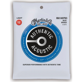 Martin 3 Set Pack Authentic Acoustic SP 12-54 Light 80/20 Bronze Acoustic Guitar Strings MA140PK3