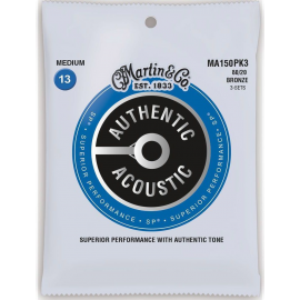 Martin 3 Set Pack Authentic Acoustic SP 13-56 Medium 80/20 Bronze Acoustic Guitar Strings MA150PK3