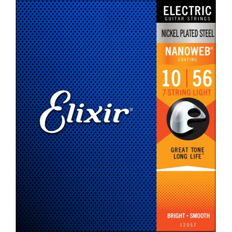 Elixir 12057 'Nanoweb Coating' 7 String 10 - 56 Light Electric Guitar Strings