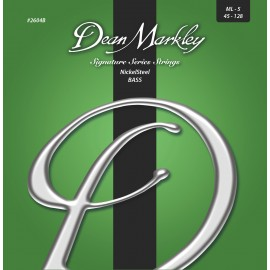 Dean Markley 5 String Signature NickelSteel 45-128 Med-Light Nickel Plated Bass Strings 2604B
