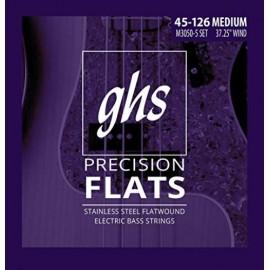 Ghs 5 String Precision Flats 45-126 Medium Stainless Steel Flatwound Long Scale Bass Strings M3050-5