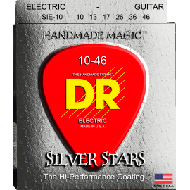 Dr Handmade Silver Stars 10-46 Coated Silver Plated Electric Guitar Strings SIE10