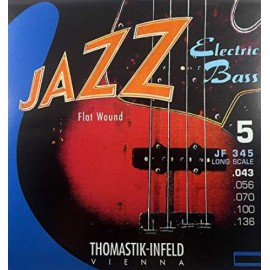 Thomastik 5 String Jazz 43-136 Long Scale Flatwound Bass Guitar Strings JF345
