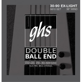 Ghs Double Ball End Boomers 30-90 Extra Light Stainless Steel Round Wound Bass Guitar Strings 5610