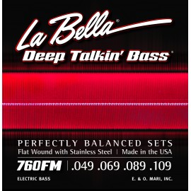 La Bella Deep Talkin' Bass 49-109 Flatwound S/Steel Long Scale Bass Strings 760FM