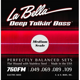 La Bella Deep Talkin' Bass 49-109 Flatwound S/Steel Medium Scale Bass Strings 760FM