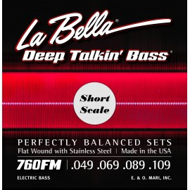 La Bella Deep Talkin' Bass 49-109 Flatwound S/Steel Short Scale Bass Strings 760FM