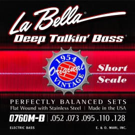 La Bella Deep Talkin' Bass Original 52-110 Flatwound Heavy Short Scale S/Steel Bass Strings 0760M-S