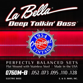 La Bella 5 String Deep Talkin' Original Bass 52-128 Flatwound S/Steel Bass Strings 0760M-B