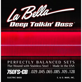 La Bella 6 String Deep Talkin' Bass 29-128  Flatwound S/Steel Bass Strings 760FS-CB